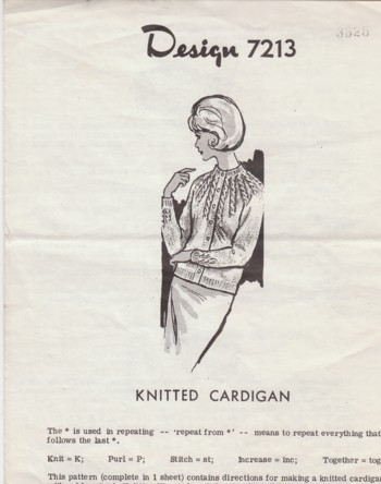 Image for (Pattern #7213) Knitted Cardigan