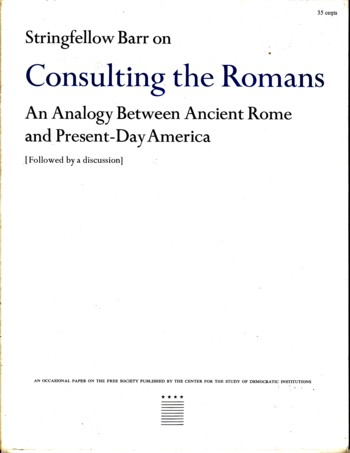 Image for Consulting the Romans: an analogy between Ancient Rome and Present Day