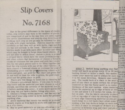 Image for (Patterns no. 7168) Slip Covers