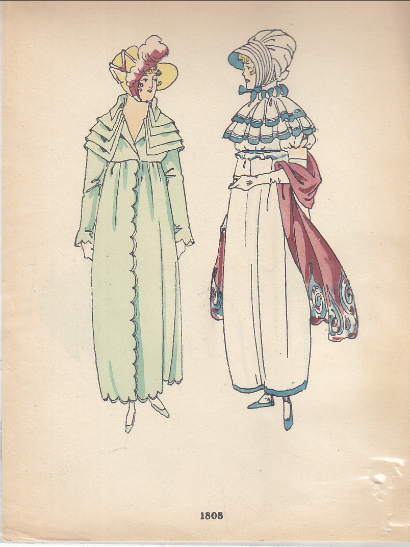 Image for Hand-painted Print of 2 1808 Ladies